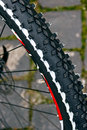Bicycle wheel detail of a rubber mountain bike Royalty Free Stock Photo