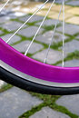 Bicycle wheel detail of a rubber with pink rim on a paving Royalty Free Stock Photos