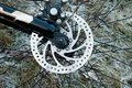 Bicycle wheel with disk brakes. Royalty Free Stock Photo