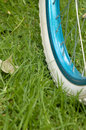 Bicycle wheel in green grass blue rim with white tyres standing on Royalty Free Stock Photo