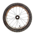 Bicycle wheel small old rusty isolated on white Royalty Free Stock Photo