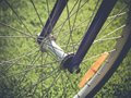 Bicycle Wheel In The Summer Green Grass Meadow Field. Close Up Detail Royalty Free Stock Photo