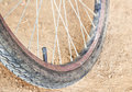Bicycle wheel and tire close up Royalty Free Stock Photo