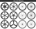 Bicycle Wheels with different tires: mountain, sports, touring, Royalty Free Stock Photo