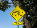 Bicycle xing sign ca traffic for crossing in california usa Royalty Free Stock Photo
