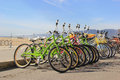 Bicycles on the beach beautiful scenery of santa monica with ready for tourists Stock Images