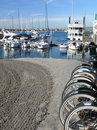 Bicycles and boats at Mission Bay Stock Photography