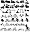 Bicycles and Construction vehicles Royalty Free Stock Images