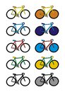 Bicycles with a different color vector format Royalty Free Stock Photography