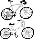 Bicycles. hand drawn illustrations. Royalty Free Stock Photo