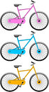 Bicycles illustration featring three coloured isolated on white background eps file is available Royalty Free Stock Photography