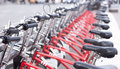 Bicycles a lot of red in a row Royalty Free Stock Photography