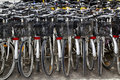 Bicycles renting shop pattern rows parking Stock Photo