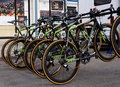 Bicycles in a row in preparation for race tour of alberta Royalty Free Stock Photos