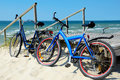Bicycles on a sandy beach Royalty Free Stock Photo