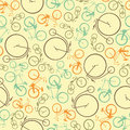 Bicycles seamless abstract pattern made of four types of retro Stock Images