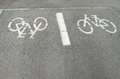 Bicycles sign in the ground Royalty Free Stock Photo