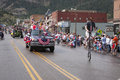 Bicycling july independence day parade ouray colorado Stock Image