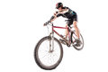 Bicyclist on a dirty bike Royalty Free Stock Photo