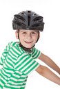 Bicyclist do menino com capacete Fotos de Stock
