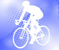 Bicyclist on the halftone background Royalty Free Stock Photo