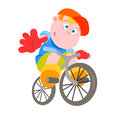 Bicyclist vector illustration of a little Stock Images