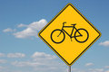 Bicyles Ahead Warning Sign Stock Photos