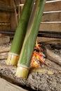 Bidayuh of sarawak borneo cooking utensil close up bamboo sticks over firewood kitchen land dayak tribe use bamboo stick for rice Royalty Free Stock Photography