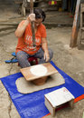 Bidayuh women of sarawak borneo malaysia june unidentified pounding glutinous rice using traditional rice pounder on june in Royalty Free Stock Image