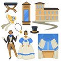 Biedermeier style vintage fashion and architecture man and woman