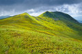 Bieszczady National Park Carpathian Mountains grass landscape Royalty Free Stock Photo