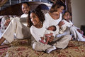 Big African American family with newborn baby Stock Images