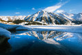 Big almaty lake on december water ice mountains and snow Royalty Free Stock Images