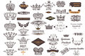 Big antique collection of vector crowns and labels for vintage d Royalty Free Stock Photo