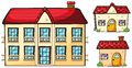 A big apartment and two small houses illustration of on white background Royalty Free Stock Photography