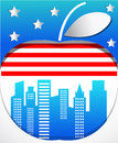 Big apple with flag background symbol of new york Royalty Free Stock Image