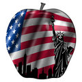 Big Apple with USA Flag and New York Skyline Stock Photo