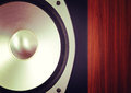 Big audio stereo speaker in wooden cabinet closeup Royalty Free Stock Image