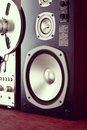 Big Audio Stereo Speaker in Wooden Cabinet Royalty Free Stock Photo