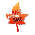 Big autumn sale in 3d leaf Stock Photo