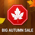 Big autumn sale on wood background layered Royalty Free Stock Photo