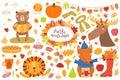 Big autumn set with cute animals