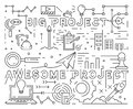 Big and Awesome Project Line Art Design. Youthful Doodle Style. Black And White Illustration. Business, Startup, And Project Conce