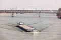 Big Barge Navigates Danub River