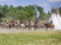 The big battle crow agency montana usa – june reenactment by cavalry soldiers and american indians of of little bighorn known as Stock Photos
