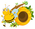 A big bee near the beehive illustration of on white background Royalty Free Stock Images
