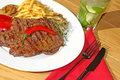 Big beef Steak with garnish and mojito Stock Images