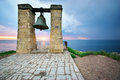 Big bell on sea shore Royalty Free Stock Photo