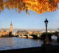 Big Ben with autumn leaves in London, England Royalty Free Stock Photos