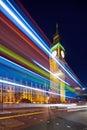 Big Ben behind light beams Royalty Free Stock Photo